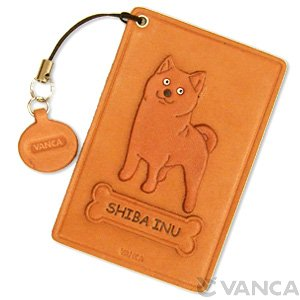JAPANESE SHIBA DOG LEATHER COMMUTER PASS/PASSCARD HOLDERS