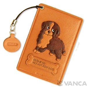 BERNESE MOUNTAIN DOG LEATHER COMMUTER PASS CASE/CARD HOLDERS