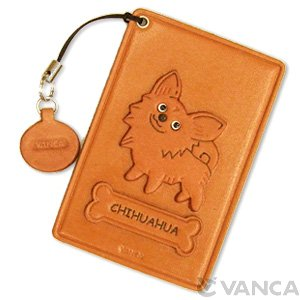 CHIHUAHUA LONG HAIRD LEATHER COMMUTER PASS CASE/CARD HOLDERS