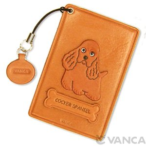 COCKER SPANIEL LEATHER COMMUTER PASS CASE/CARD HOLDERS