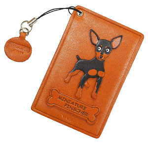 MINIATURE PINSCHER BLACK&TAN LEATHER COMMUTER PASS/PASSCARD HOLDERS