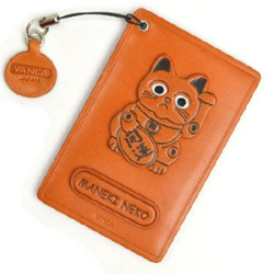 LUCKY CAT LEATHER COMMUTER PASS CASE/CARD HOLDERS