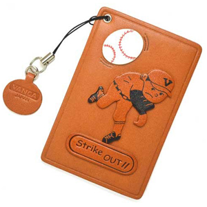 PITCHER STRIKE OUT LEATHER COMMUTER PASS CASE/CARD HOLDERS