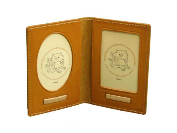 OWL LEATHER DUAL PICTURE FRAME