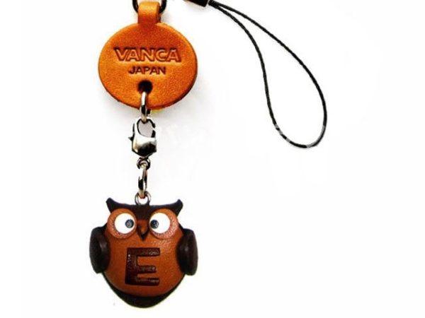 OWL E LEATHER CELLULARPHONE CHARM ALPHABET