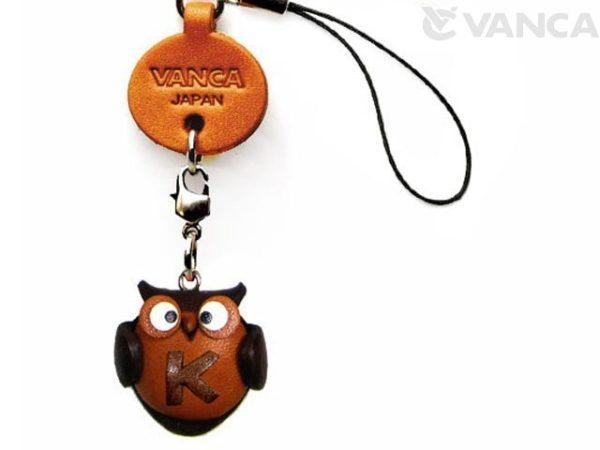 OWL K LEATHER CELLULARPHONE CHARM ALPHABET