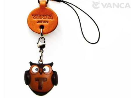 OWL T LEATHER CELLULARPHONE CHARM ALPHABET