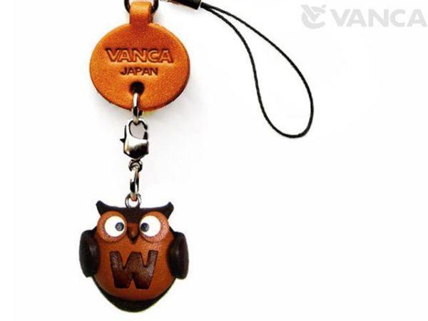 OWL W LEATHER CELLULARPHONE CHARM ALPHABET