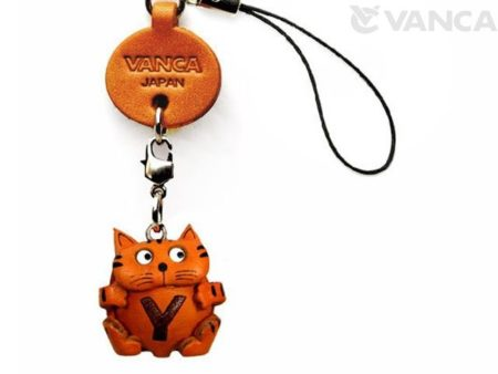 CAT Y LEATHER CELLULARPHONE CHARM ALPHABET