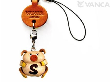 PIG S LEATHER CELLULARPHONE CHARM ALPHABET