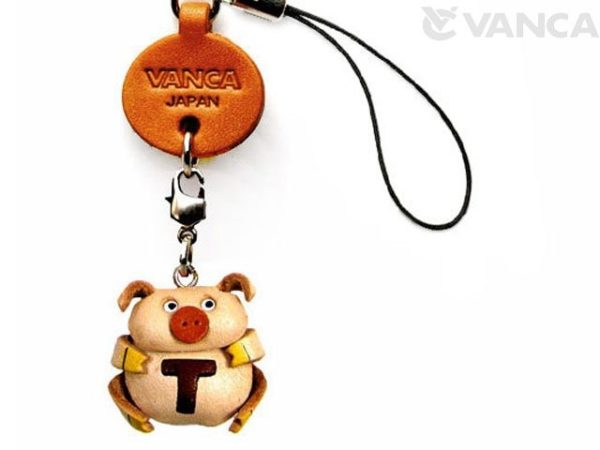 PIG T LEATHER CELLULARPHONE CHARM ALPHABET