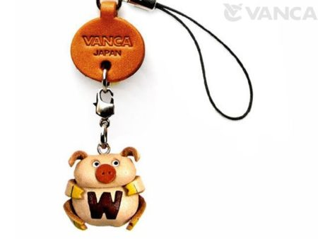 PIG W LEATHER CELLULARPHONE CHARM ALPHABET