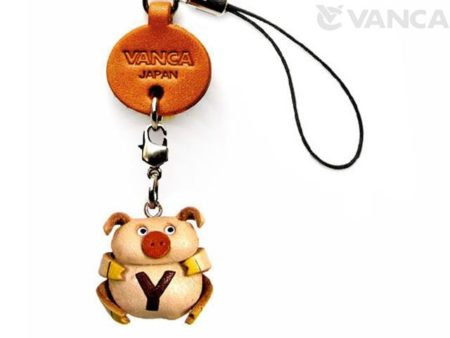 PIG Y LEATHER CELLULARPHONE CHARM ALPHABET