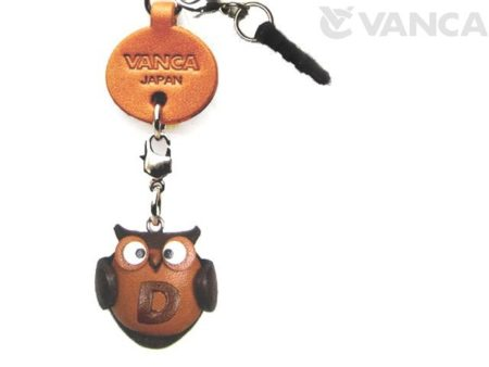 ALPHABET OWL D LEATHER ANIMAL EARPHONE JACK ACCESSORY