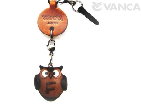 ALPHABET OWL F LEATHER ANIMAL EARPHONE JACK ACCESSORY