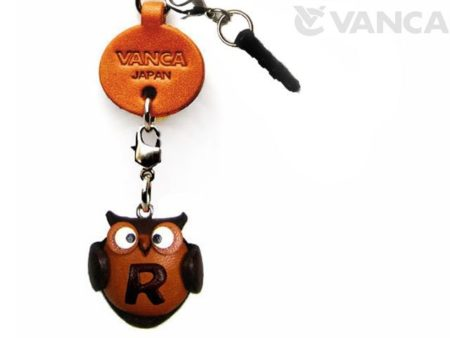 ALPHABET OWL R LEATHER ANIMAL EARPHONE JACK ACCESSORY